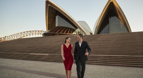 Couple enjoying an evening out at Sydney Opera House, Sydney City
