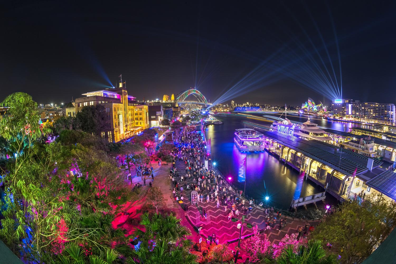 Crowds enjoying the Vivid Sydney 2018 festival along the Sydney Harbour foreshore