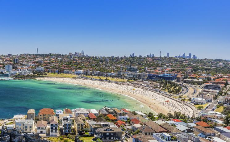 Aerial shot of Bondi Beach, Sydney