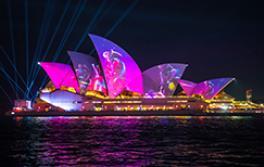 Die Austral Flora Ballet Lichtprojektion auf dem Sydney Opera House während Vivid Sydney2019